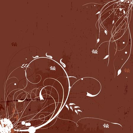 Grunge floral elegant background in brown tones Illustration