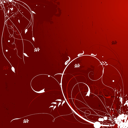 Grunge deep red floral background Stock Vector - 4361681
