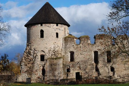 View on castle in Cesis, Latvia