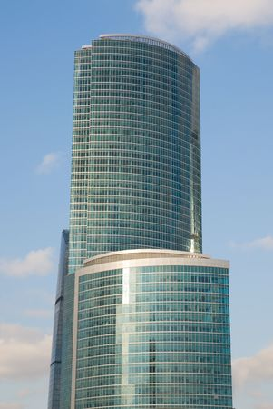 Modern tall office glass building in Moscow, Russia