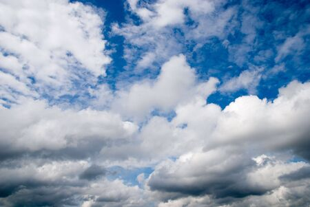 Dramatic clouds on blue sky Stock Photo