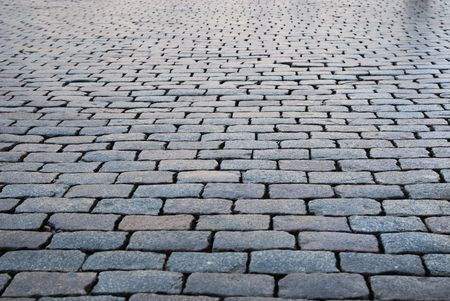 Brick pavement in a city photo