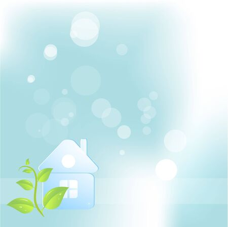 Abstract eco background with a house Stock Photo