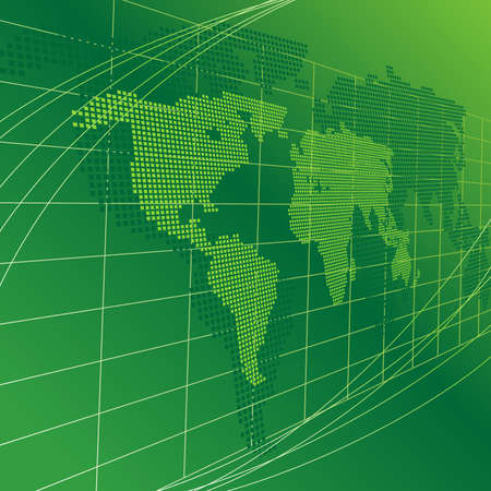 Green background with map of the world Stock Photo - 4935920