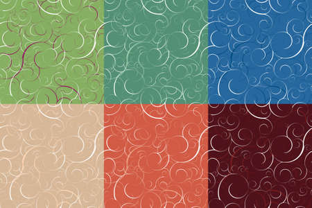 Set of six seamless swirly patterns. Tile for endless backgrounds