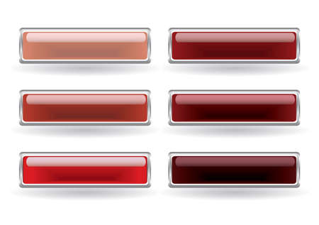 Set of six rectangular buttons in red colors