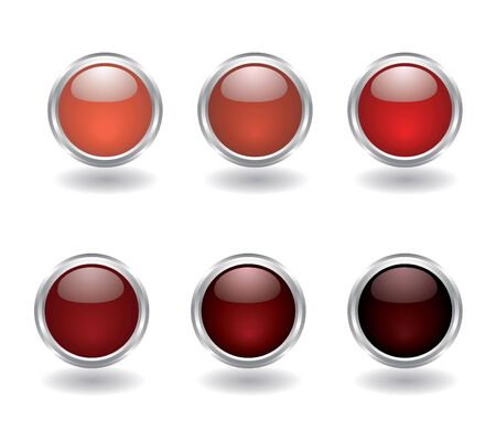 Set of six buttons in red colors