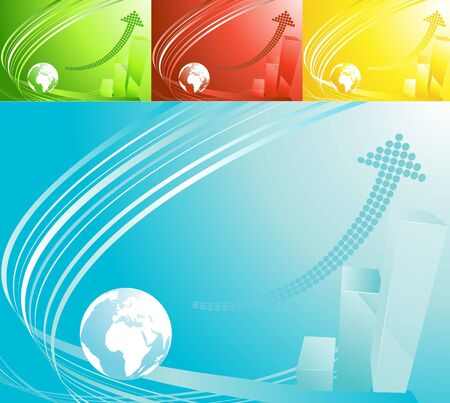 Set of four backgrounds with globe and a graph Stock Photo - 5037990