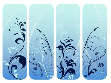 Set of four blue vertical floral banners