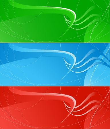 Set of three horisontal banners, red, green and blue