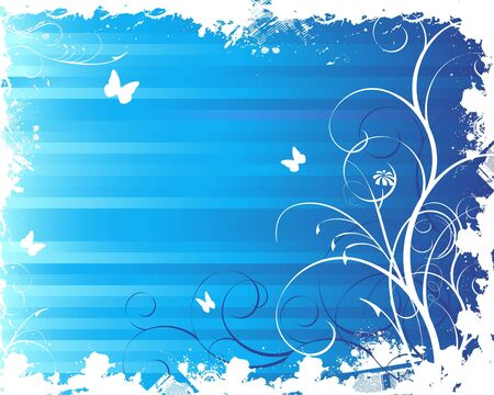 Blue floral summer background Stock Photo