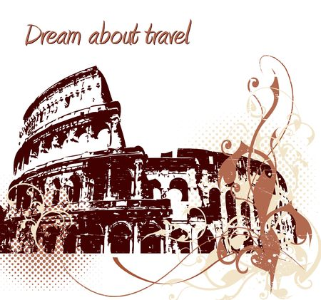 Grunge background with Colosseum in Rome photo