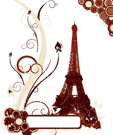 Grunge brown background with Eiffel tower in Paris Stock Photo - 5038023