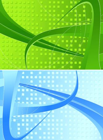 Set of two abstract backgrounds with three-dimensional forms Stock Photo