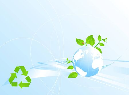 Eco modern background with globe and recycling sign