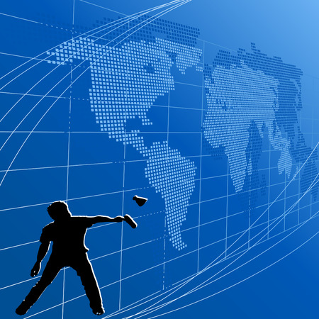 badminton sport symbol: Blue background with map of the world and a sportsman Illustration
