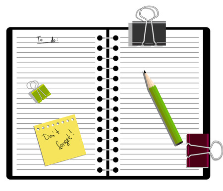 Notebook with a pencil and to-do list Vector