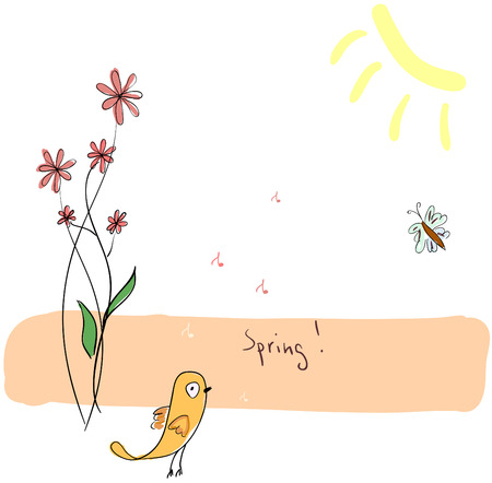 birdsong: Cute handdranw spring illustration with flowers and a bird