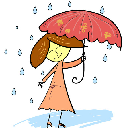 Cute woman with umbrella, childlike illustration Illustration