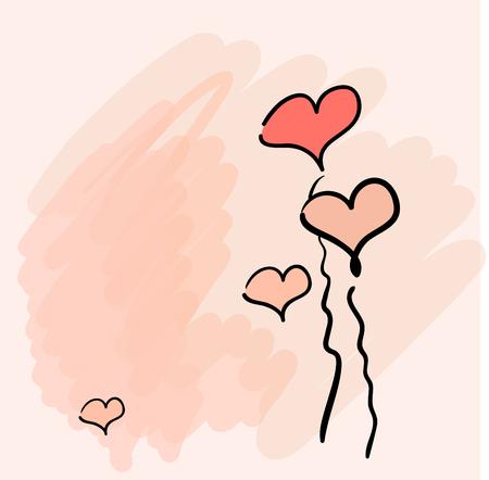 Cute valentine background, handdrawn illustration Vector