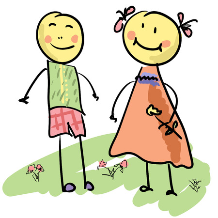 Boy and a girl, cartoon handdrawn illustration Vector