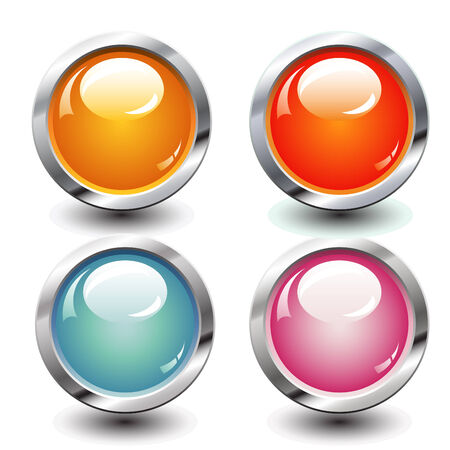 Set of four bright buttons Vector