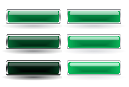 Set of six green buttons