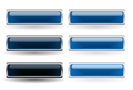 rectangle button: Set of six blue buttons