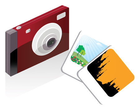 Digital camera and pictures Vector