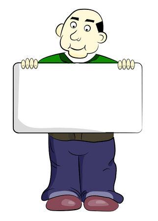 blanc: Hombre de dibujos animados cute sosteniendo un signo de blanc  Vectores
