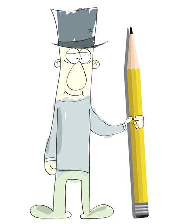 Cute cartoon man holding a pencil