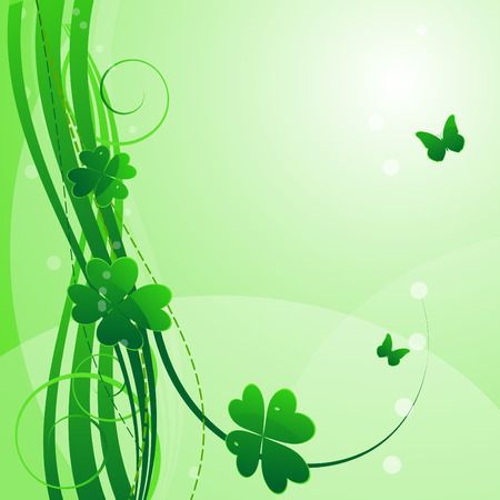 Bright green floral st.Patricks background Vector