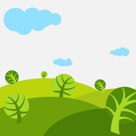 Cute árboles y prados en primavera