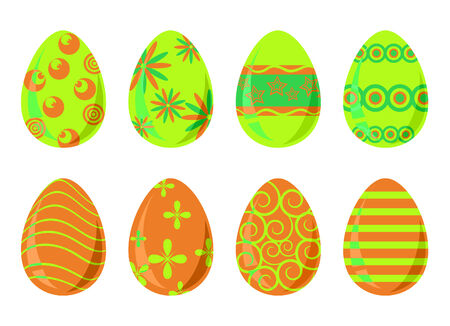 Set of eight bright easter eggs
