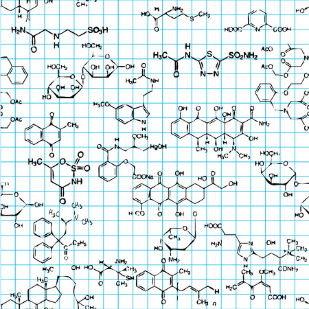 chemical material: Seamless pattern with formulas of organic substances