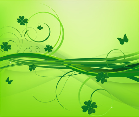 Floral green background with clover Illustration