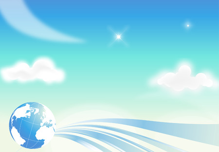 Blue sky background with clouds and globe