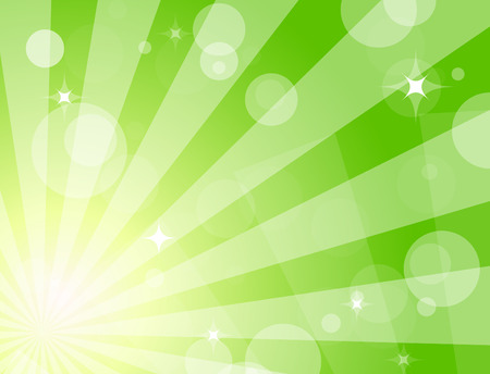 Green shiny background with sunbeams Illustration