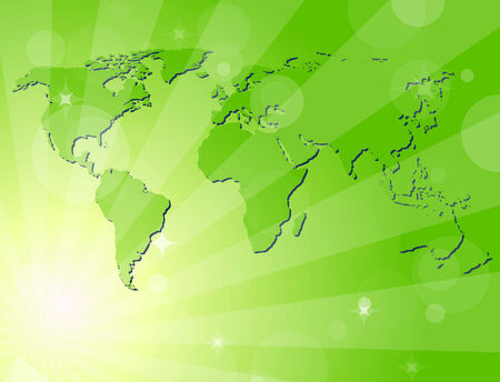 Green shiny background with map of the world Vector