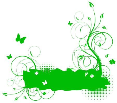 Green floral summer seasonal background