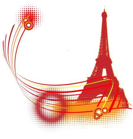 Paris red grunge halftone background