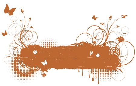 Floral grunge retro background with butterflies Illustration