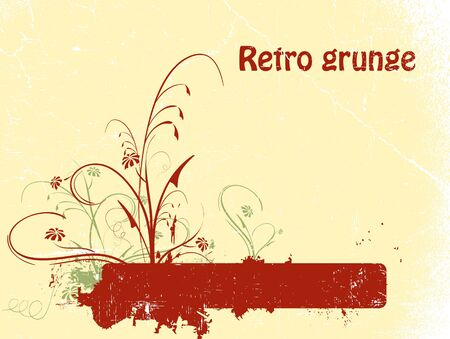 Floral grunge retro background with copy space Vector