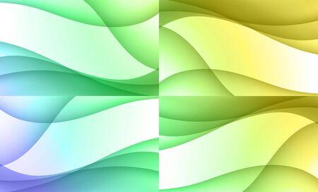 agrio: Conjunto de agrio fondos ondulados coloridos hermosos  Vectores