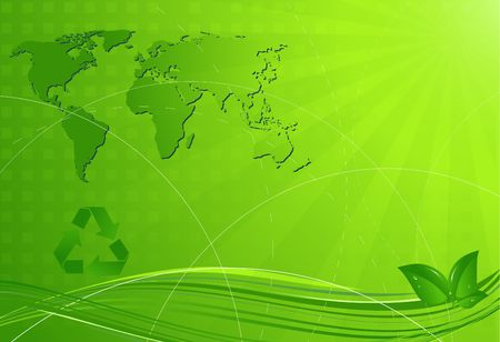 Abstract eco background with map of the world photo