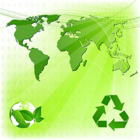 Eco background with map of the world and recycling sign photo