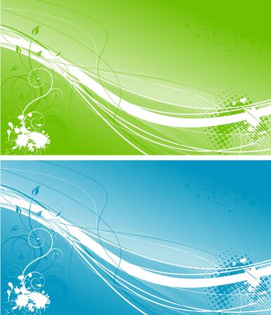 Floral retro grunge blue and green backgrounds