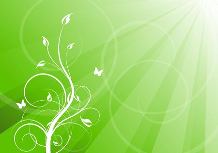 Floral green background with copy space