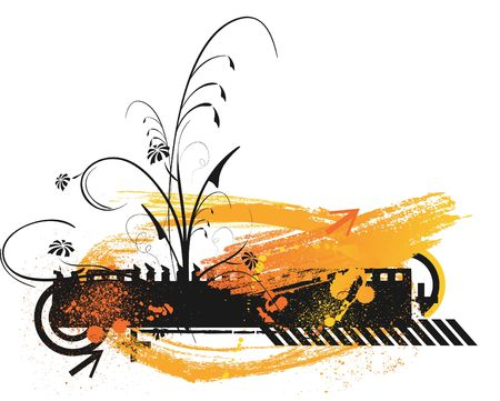 Floral retro grunge orange background photo
