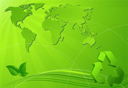 Eco background with map of the world and recycling sign